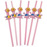 MagiDeal 6pcs Animal Bend Drinking Straws Kids Party Baby Shower Bar Disposable Tableware - Monkey, As Described