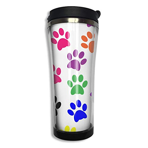 Print Insulated Travel Mug (Tumbler Travel Mug Colorful Paw Prints Insulated Both Cold & Hot Coffee Mug 14 Oz (420 ML))