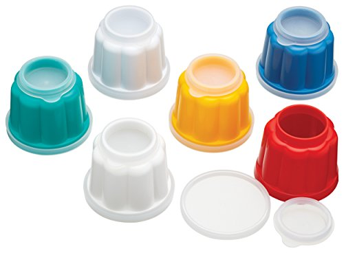 "KitchenCraft Easy-Release Mini Plastic Jelly Moulds, 7 cm (3"") - Multi-Colour (Set of 6)"