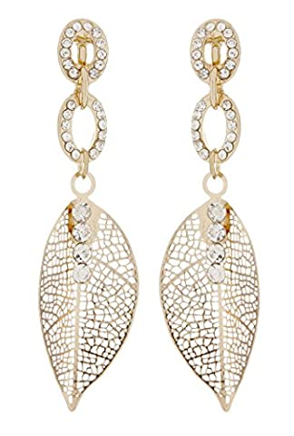 Boucles d'oreilles clips - plaqué or feuille avec cristaux clairs - Ava par Bello London