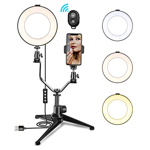 Galleria fotografica Luce ad Anello Dimmerabile, MACTREM Ring Light 6 con Treppiede E Supporto per Telefono Cellulare Luce Selfie Anello Modalità a 3 Luci per Trucco, Fotografia, Selfie e Video YouTube, Streaming Live