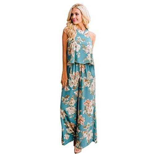 nsätze, Damen Ärmelloses Shirt Blumendruck Top Bluse + Lange Hosen Zweiteiler Outfit Lässig 2018 Frühling, Sommer Heißer Verkauf Oansatz Elegante Sets (EU 40/Asien XL, Grün) (Sexy Outfits Für Verkauf)