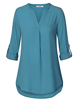 Youtalia Ladies Chiffon Blouses, Womens Casual Chiffon V Neck Cuffed Sleeve Loose Shirt Blouse Tops(dark Cyan,large) 0