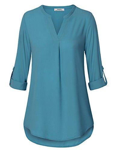 Youtalia Frauen Blusen, Damen Freizeit Chiffon V-Ausschnitt Manschetten-Ärmel Locker Shirt Bluse Oberteile(Dunkel Türkis,XX-Large)