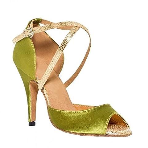 frau lateinisch tanzen sandalen satin leder tango salsa samba tango ballsaal offener zeh weich wildleder sohlen schnalle querriemen high heels grün schuhe . b . 36