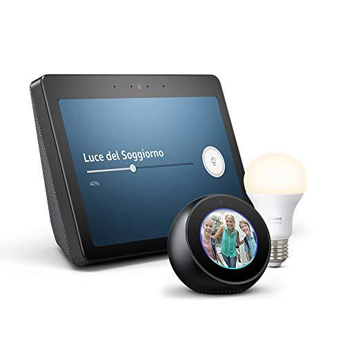 """Echo Show (2ª generazione) – Audio di ottima qualità e brillante schermo HD da 10"""" – Nero+ Lampadina Philips Hue White + Echo Spot – Nero"""