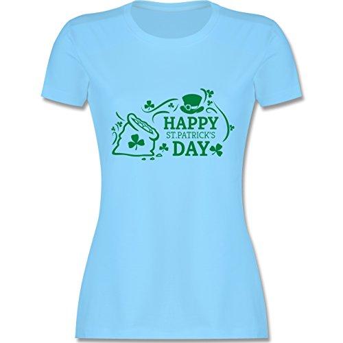 Festival - Happy St. Patricks Day Badge - tailliertes Premium T-Shirt mit Rundhalsausschnitt für Damen Hellblau