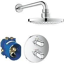 Grohe Grohtherm 1000 - Conjunto de ducha termostática con termostato Rapid-T oculto, ducha con instalación en pared y grifo termostático empotrable Ref. 34582000