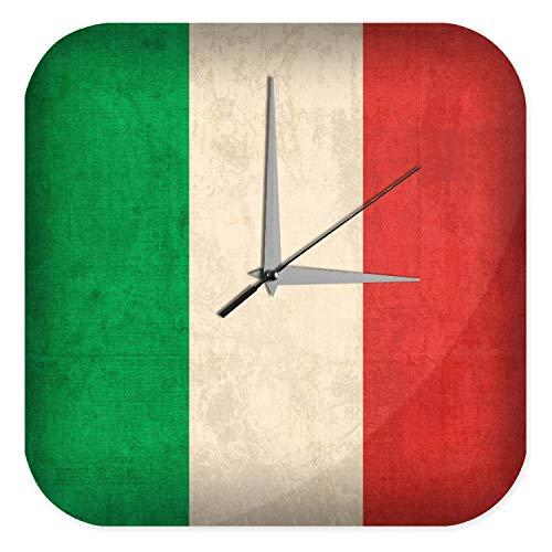 LEotiE SINCE 2004 Wanduhr mit geräuschlosem Uhrwerk Dekouhr Küchenuhr Baduhr Welt Reise Italien Flagge Wand Deko Uhr Vintage Retro