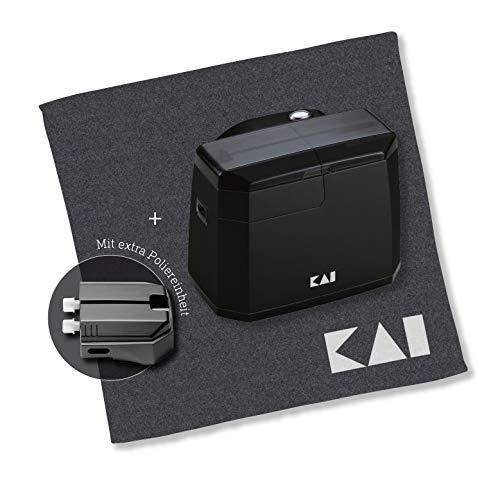 KAI APW17 Elektrischer Messerschärfer - Set inkl. Pflegetuch, Schwarz
