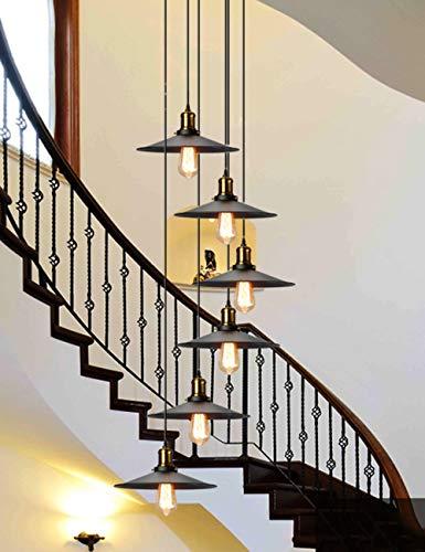 BDS lighting Candelabros de la Escalera 6 Luces múltiples Retro Sala de Estar Creativa Colgante de luz Villa lámpara de Techo dúplex apartamento en Espiral escaleras araña Larga, 35x150cm