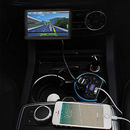 XCJ Auto-Ladegerät Wireless Bluetooth Fm Sender Mp3 USB Auto Radio Aux Bluetooth Adapter Empfänger für Auto Telefon iPhone Aufladen Freisprecheinrichtung Blau,Blau (Auto-telefon-radio-sender)