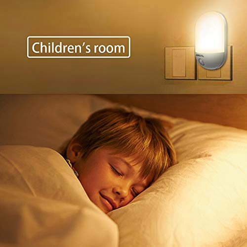 LED Night Light, OMERIL Plug-and-Play Automatic Wall Lights with Dusk to Dawn Photocell Sensor, Night Lamp Lighting for Babyroom, Kids, Children's room, Nurseries, Stair, Hallway, etc-Warm White