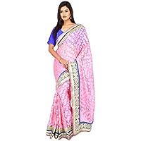 indiano Tradizionale Sari da sposa Bollywood Style Rosa Netto Jacquard Donne Saree con scucito Camicetta