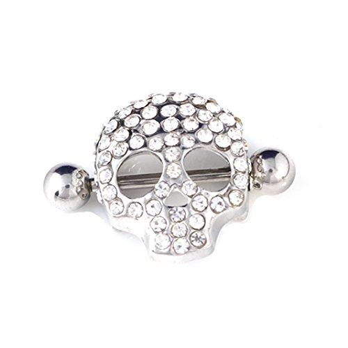 1 paar nippel - piercing, trendige mode leiche schmuck schädel ringe body piercing - schmuck 14g (Mode 14)