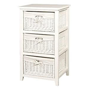 white bathroom storage baskets white wicker 3 basket storage chest of drawers 21447