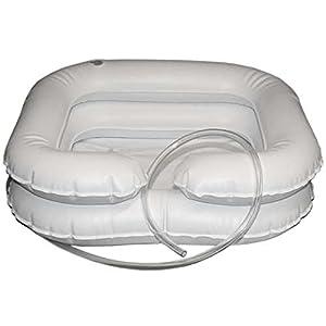 Haarwaschbecken mit Ablaufschlauch für bettlägerige Menschen – aufblasbar 2-reihig – Die Harwaschwanne aus Vinyl ist auch für den mobilen Einsatz geeignet