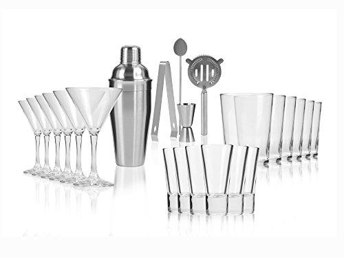 Cocktailshaker Barzubehör-Set 23 teilig aus Edelstahl, inkl. 18 Gläsern in 3 verschiedenen Formen