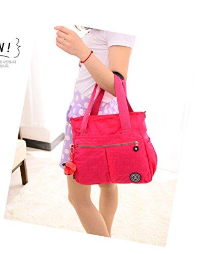 Grande borsa da donna con portachiavi a forma di scimmia, multitasche, borsa a tracolla impermeabile Hot Pink