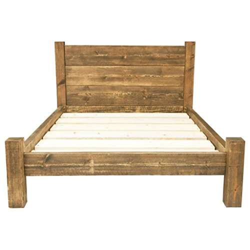 Funky Chunky Furniture Chunky Wooden Bed Frame with Treble Plank Headboard , Medium Oak , 6FT Super King