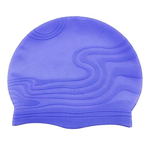 YHYZM Badekappen für Schwimmer Bequeme wasserdichte Silikon-Ohrenschützer Schwimmkappe Bademütze Badehaube Schwimmausrüstung, lila,für Damen Erwachsene Jugendliche