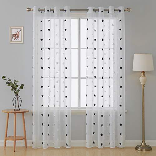Deconovo tende finestre camera da letto trasparenti in voile ricamate stelle blu navy tende a pannello moderne per la casa 2 pannelli 140x280cm