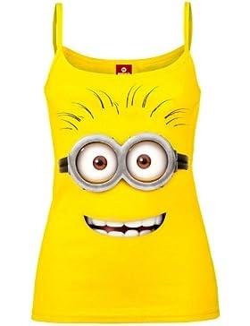 Gru, mi villano favorito - camiseta de tirantes con minion de ojos saltones - mujer - algodón - amarilla - XL