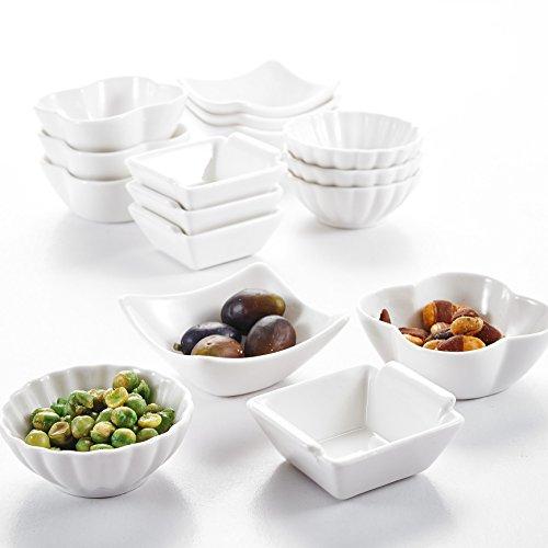 """Malacasa, Serie Ramekin.Dish, 16-teilig Set 3""""&3""""&2,5""""&3"""" / 7,5&7&6,2&7,5cm MINI Dessertschale Porzellan Snackschale Dessertschälchen Vorspeise Nachtisch Schälchen Dekoschale"""