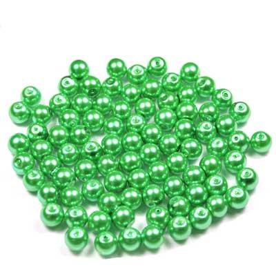 Assortiment 100 perles rondes nacrées 8mm vert pomme