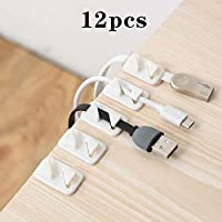 12pcs Universal Wire Tie Self-Adhesive Rectangle Cord Management Winder Cable Holder Organizer Mount Clip Clamp(White) Jasnyfall