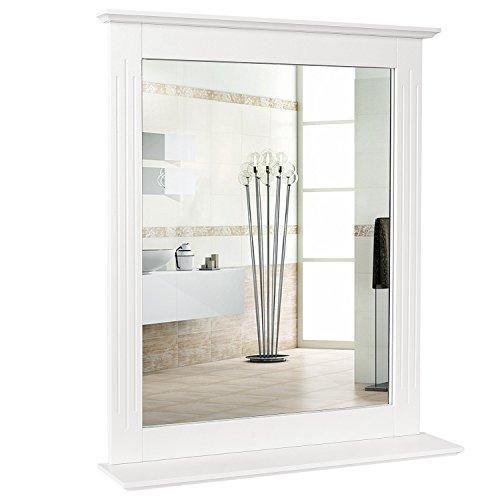 HOMFA Espejo Baño Espejo de pared con balda para dormitorio Blanco 57X12X68CM