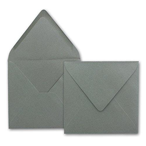 Brief-Umschläge quadratisch 50 Stück silber-matt dunkel-grau 14x14 cm 90 g/m² Nassklebung - spitze Verschluss-klappe Qualität von GUSTAV NEUSER