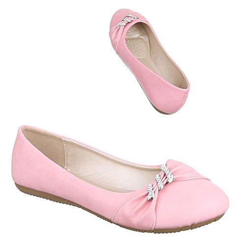 Damen Schuhe, K801, BALLERINAS MIT STEINCHEN BESETZTE Rosa
