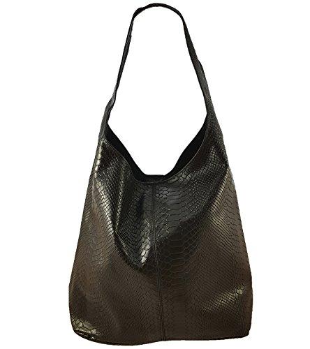 Damen Ledertasche Shopper Wildleder Handtasche Schultertasche Beuteltasche Metallic look (Schwarz Snake) (Snake Shopper)