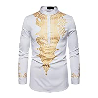 Janjunsi Men Muslim Casual Pullover Shirt Arab Islamic Bronzing Kaftan Ethnic Clothing African Dashiki Print Shirt