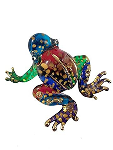 TINY CRYSTAL FROG HAND BLOWN CLEAR GLASS ART FROG FIGURINE ANIMALS COLLECTION GLASS BLOWN by Mr_air_thai_Glass_Blown