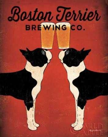 Fine Art Print–Boston Terrier Brewing Co von Wild Apple, 17 x 22