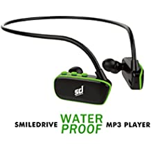 Smiledrive Swimming/Sports 100% Waterproof MP3 Player with Inbuilt 8GB Memory –World's First 100% waterproof earphones with inbuilt memory and battery - Back and Green