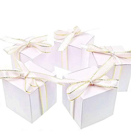 JZK 50 Leere weiße Hochzeitsbevorzugungskästen mit Filigran Bändern Papier Süßigkeiten Box für die Hochzeit Geburtstag Weihnachten Taufe Babydusche Kommunion Abschlussfeier
