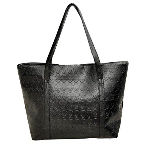 Pinzhi Frauen Schädel Kopf und Silk Schal Dekoration Design große Tote Schultertasche Handtasche schwarz (Tote Design-große)