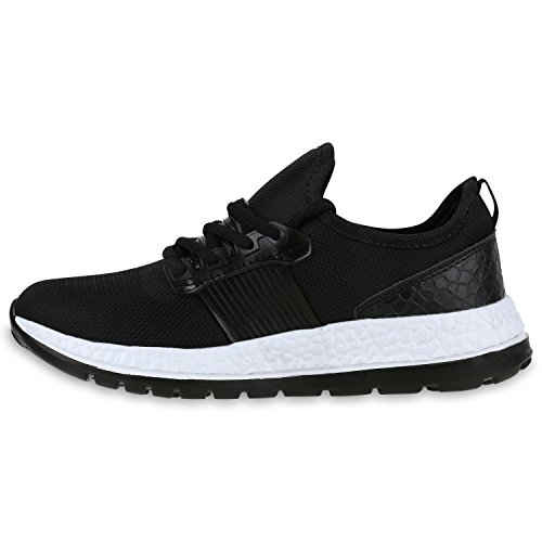 Damen Sportschuhe Runners Lack Metallic Laufschuhe Sneakers Schwarz Bernice