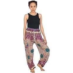 Lofbaz Mujeres Harén Pantaloni Bohemio Floral hippie Boho Púrpura Una Talla