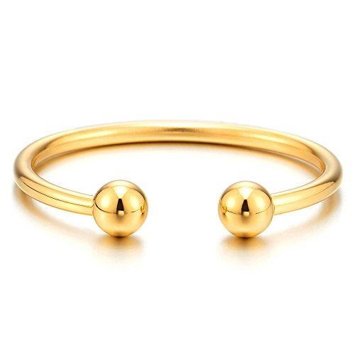 COOLSTEELANDBEYOND Elastische Verstellbare-Gold Edelstahl Ball Manschetten Armband für Herren Damen Armreif Farbe Silber Poliert