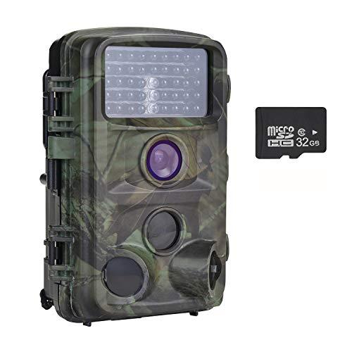 """Nicam Wildkamera 1080P Full HD Jagdkamera 120° Weitwinkel Vision Infrarote 20m Nachtsicht IP56 Wasserdichte Überwachungskamera mit 2.4\"""" TFT LCD/ 46pcs IR LEDs/ 32GB Micro SD Karte - 12 MP / 0,2 S"""