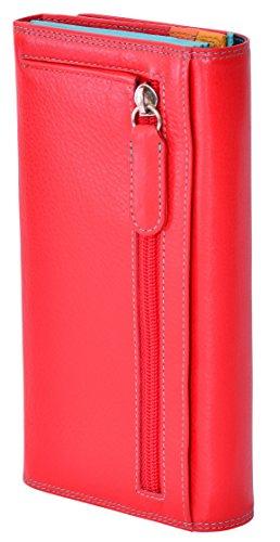 """Visconti portafoglio di pelle da donna """"Spectrum"""" multicolore Large Purse (SP36): (Taupe/bordeaux) Multi rosso (red multi)"""