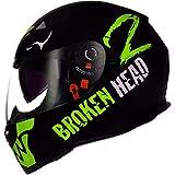 Broken Head Adrenalin Therapy VX2 matt-schwarz grün | Motorrad-Helm mit Sonnenblende (S 55-56 cm)
