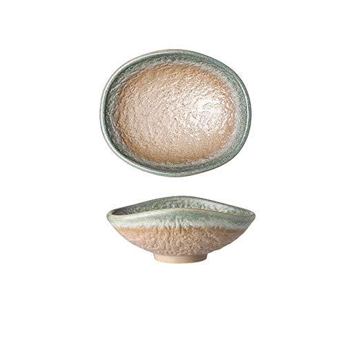 Retro Kreative Keramikschale Geschirr Haushalt Kalte Schüssel Snack Schüssel Ramen Bowl Shaped Bowl 4 Stück Set Gelb 16,8X14X6,5 Cm - Grau Pappteller Gelb Und