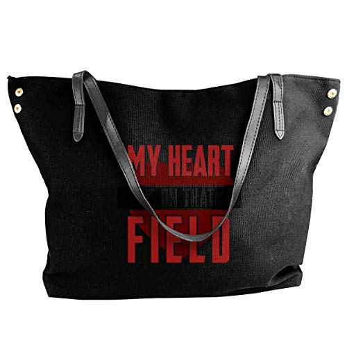 liangxiquguidaojiaotongshe My Heart Is On That Field Women Tote Bags Canvas Shoulder Handbag Satchel Bag