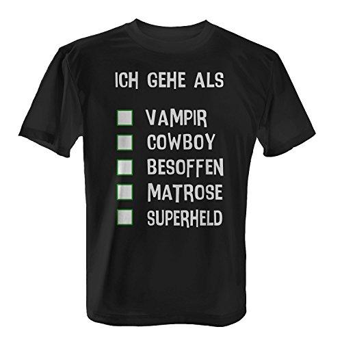 T-Shirt - Ich Gehe Als Vampir Cowboy besoffen Matrose Superheld | Fun Shirt Zum Ankreuzen Als Karneval Fasching Kostüm, Farbe:Schwarz;Größe:XXL (Coole Vampir Männer Kostüme)