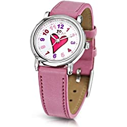 Jo For Girls Quartz Watch with White Dial Analogue Display and Pink Plastic or Pu Strap JW002